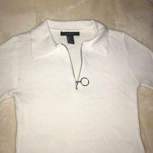 A white half zip up shirt